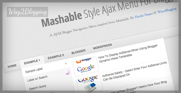 AJAX Navigation Menu For Blogger Banner