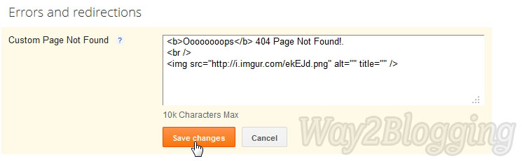 New Blogger SEO Search Preference Custom 404 Page