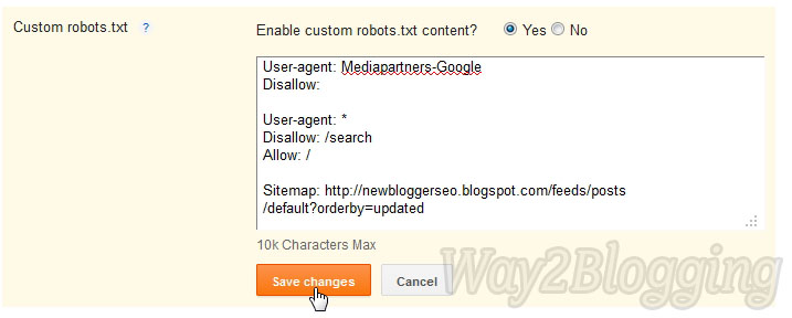 New Blogger SEO Search Preference Custom Robots.txt file