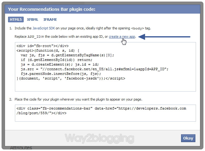Official Facebook Recommendations Bar Widget for Blogger / Blogspot step two