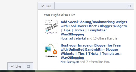 Official Facebook Recommendations Bar Widget Preview